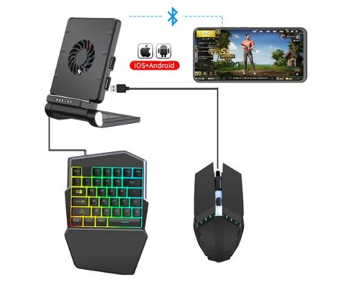 Мобильный игровой Bluetooth адаптер с охлаждением, игровой клавиатурой и мышкой Union Sundy PUBG Mobile P6