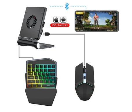 Мобильный игровой Bluetooth адаптер с охлаждением, игровой клавиатурой и мышкой Union Sundy PUBG Mobile P6, фото 2