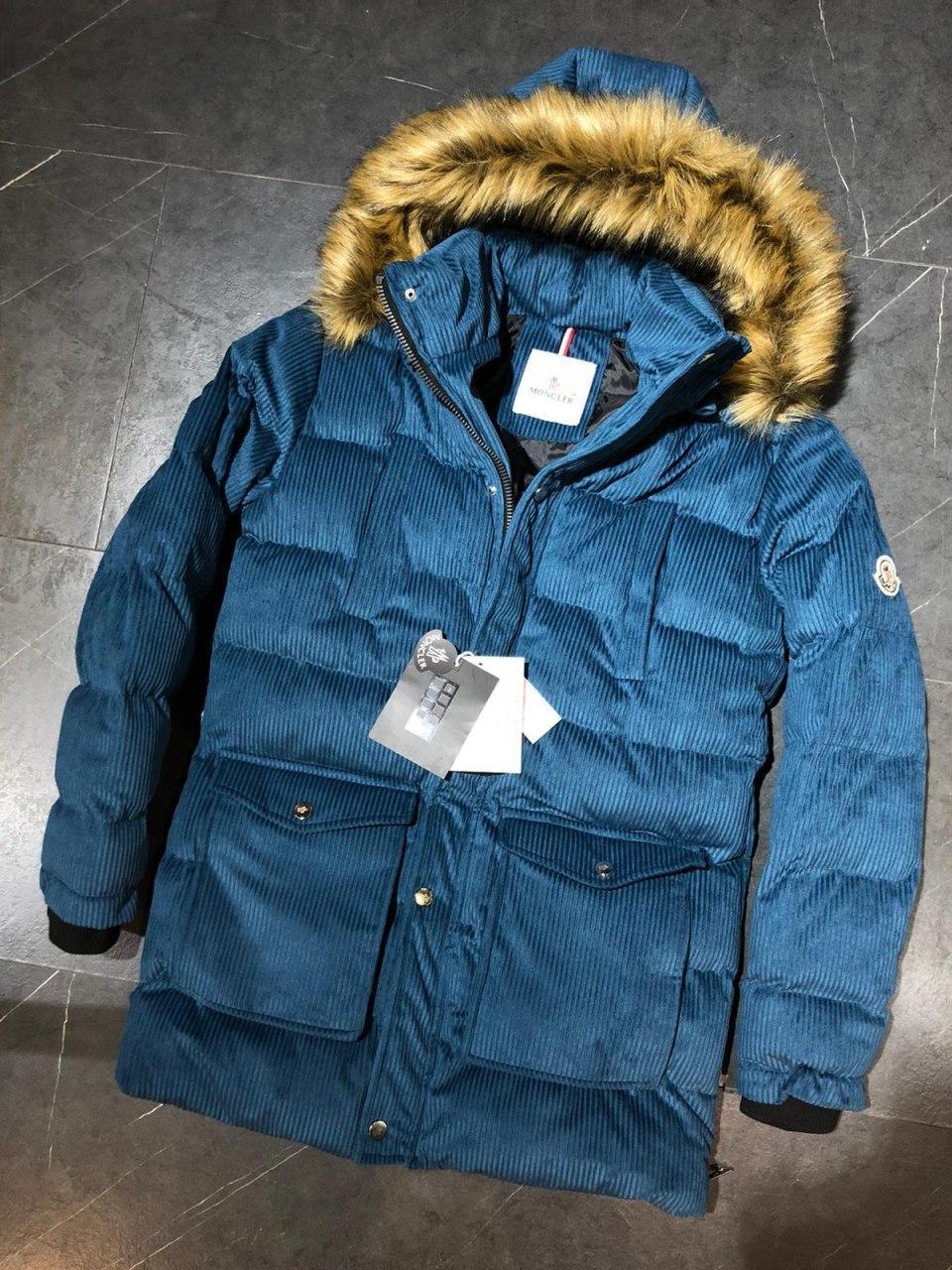 😜 Куртка - Мужская куртка микровельвет синяя