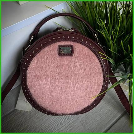 Женская сумка кругляшка Дэвид Джонс Original сирень-пудра, фото 2