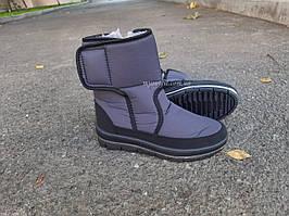 Жіночі зимові чоботи дутики Сірі короткі на замку та липучці