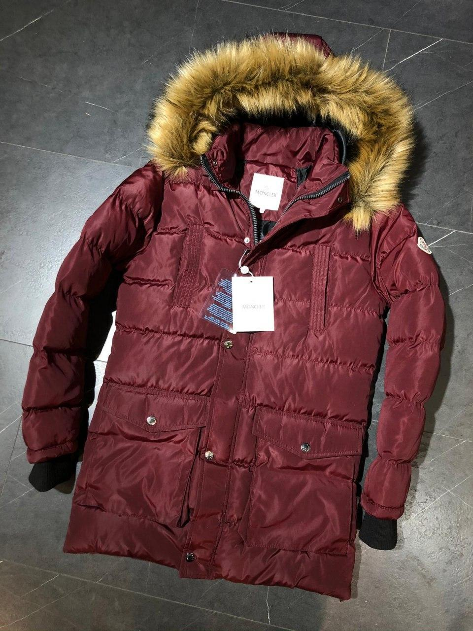 😜 Куртка - Мужская куртка- пуховик бордовая