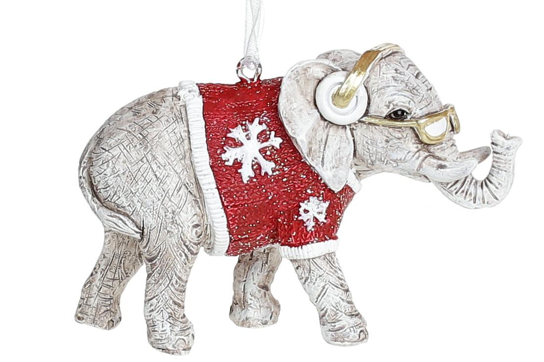 Подвесная фигурка Слон в наушниках, 8.5см, цвет - винтажный белый с красным