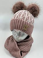 ОПТ. Комплект шапочка для дівчинки зі снудом «Візерунок» на флісі, фото 1