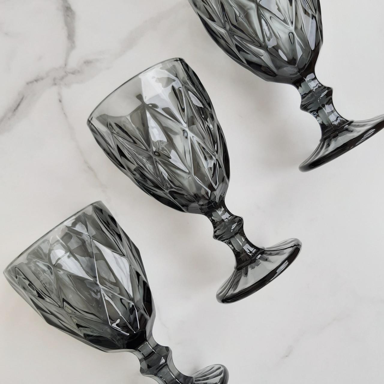 Набор бокалов для вина из цветного стекла Кварц 320 мл 6 шт