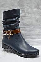 Кожаные зимние ботиночки на низком ходу с коричневым ремешком. Украина.