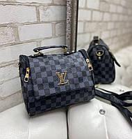Женская сумка брендовая небольшая модная сумочка молодежная стильная черная экокожа, фото 1