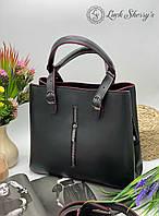 Жіноча сумка 111 чорний з червоним купити жіночі сумки купити недорого Одеса 7 км, фото 1