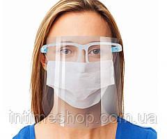 Защитный медицинский экран-маска для лица, Face Shield антивирусный щиток (крепление по типу очков) (TI)