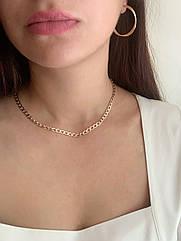 Цепочка женская позолоченная, чокер на шею медицинское золото, колье позолота 18к