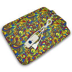 Электрогрелка со съемным чехлом Трио 02103, 43х32 см Разноцветные цветы, электрическая грелка (GK)