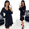 Теплое женское платье миди черное из ангоры АА/-11381