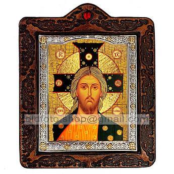 Икона Спас Златые Власы Спаситель, Господь Вседержитель  ,икона на коже 80х100 мм