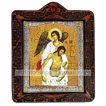 Икона Спаситель с Ангелом Спаситель, Господь Вседержитель  ,икона на коже 80х100 мм