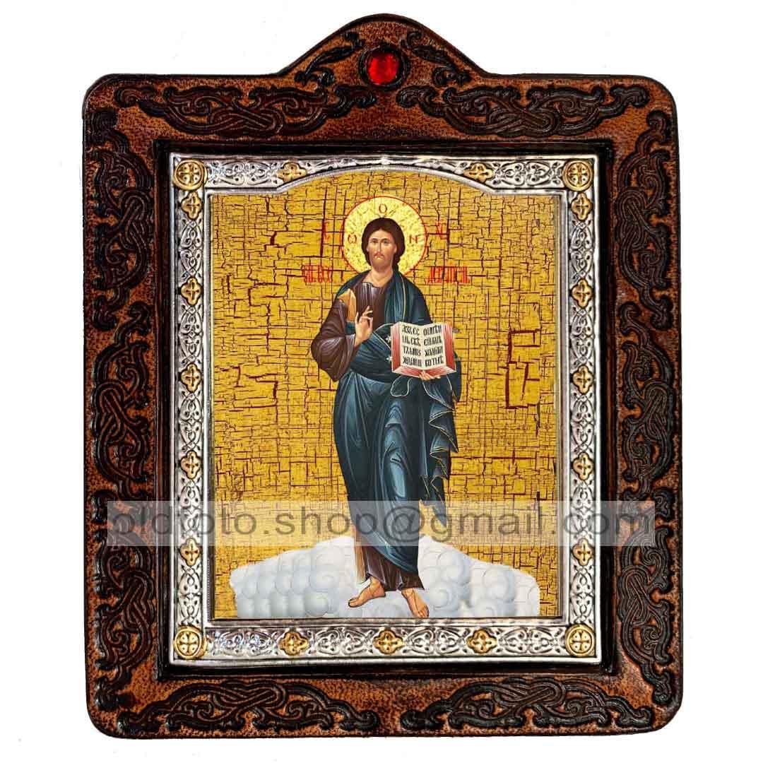 Икона Спаситель Господь Вседержитель рост (на коже 80х100мм)