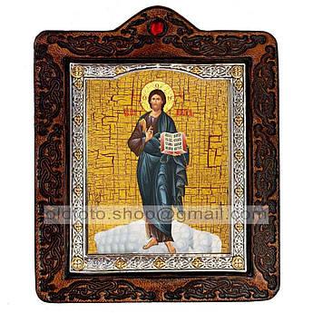Икона Спаситель Господь Вседержитель рост  ,икона на коже 80х100 мм