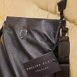Сумка мужская Philipp Plein планшетка черная из натуральной кожи, фото 10