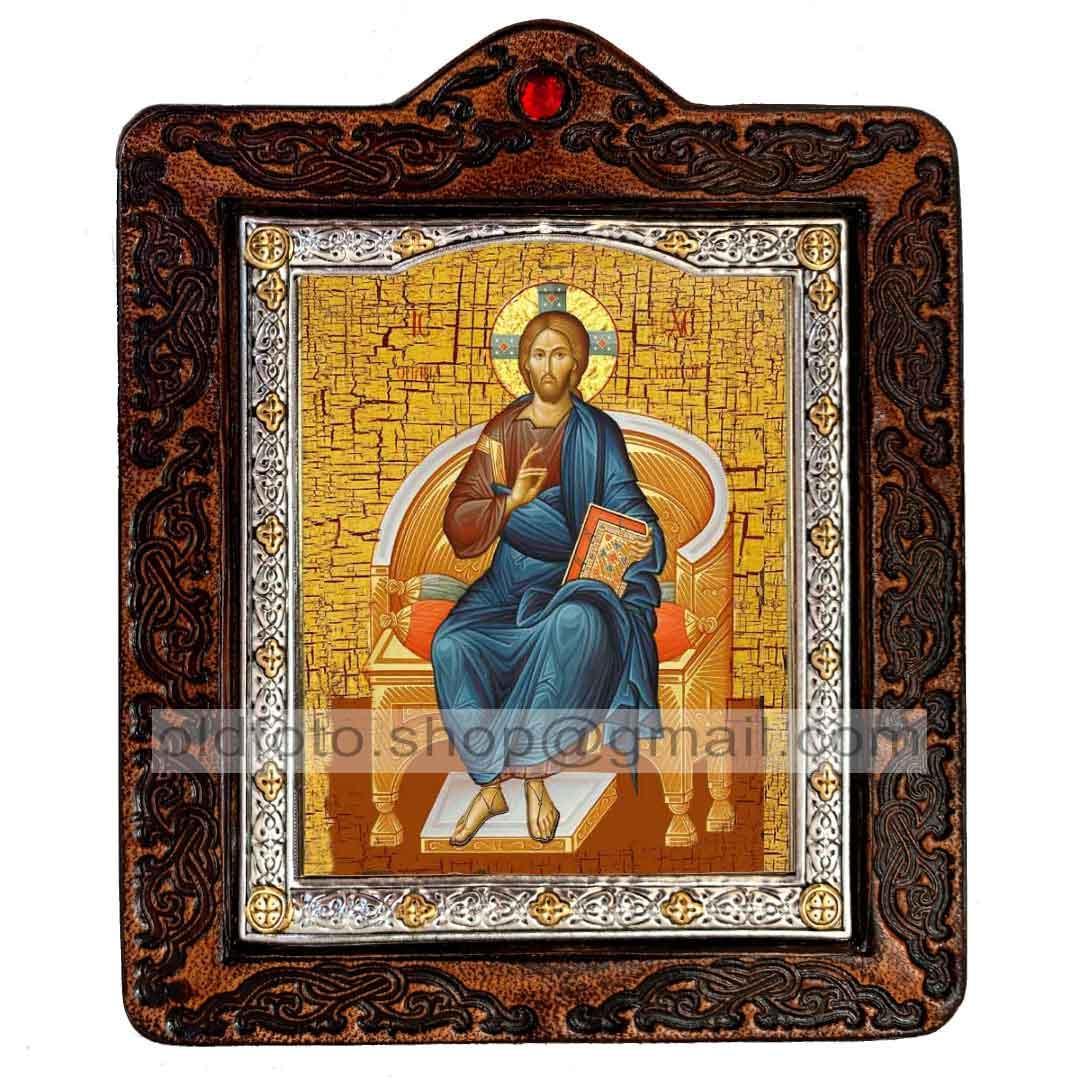 Икона Спаситель Господь Вседержитель на престоле (на коже 80х100мм)