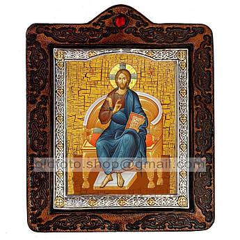 Икона Спаситель Господь Вседержитель на престоле  ,икона на коже 80х100 мм