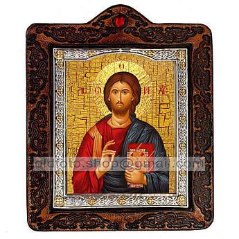 Икона Спаситель Господь Вседержитель с предстоящими (на коже 80х100мм)