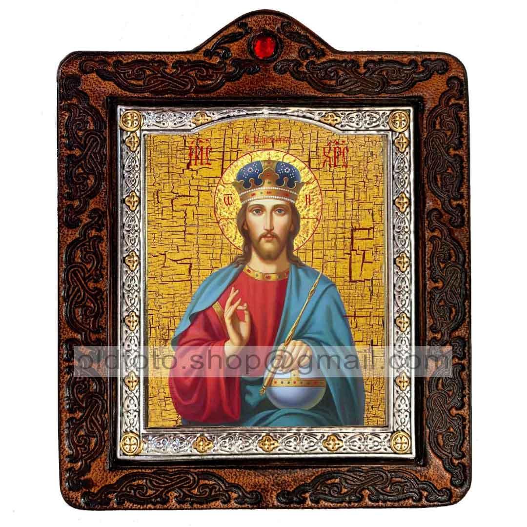 Икона Спаситель Господь Вседержитель  ,икона на коже 80х100 мм