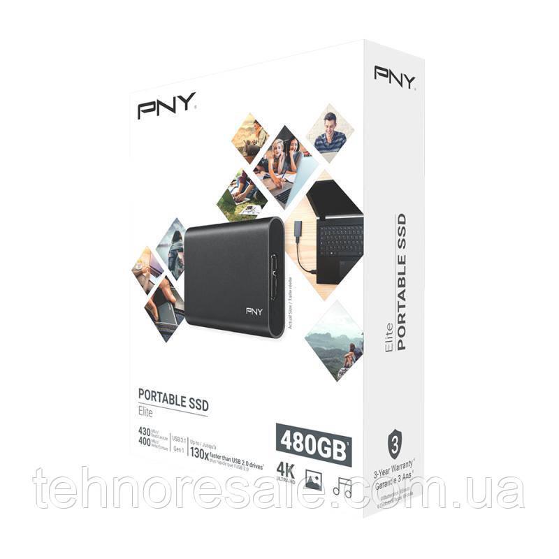 НОВИЙ зовнішній SSD PNY 480 ГБ, 400/430 МБ/с, USB 3.1