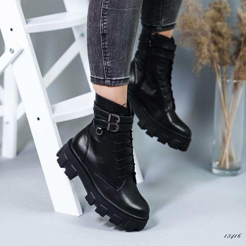 Женские демисезонные ботинки натуральная кожа чёрные