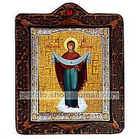 Покров Икона Пресвятой Богородицы (на коже 80х100мм)