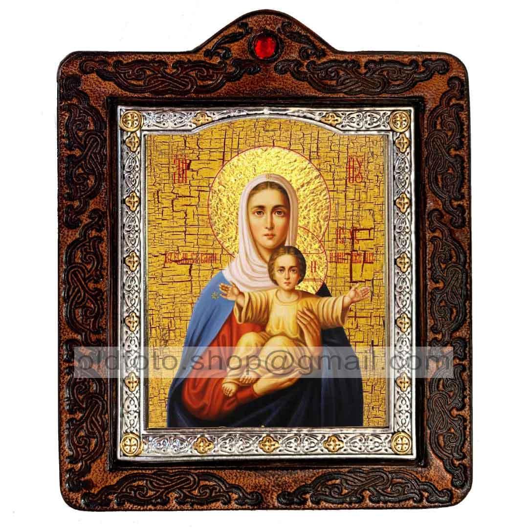 Аз Есмь с Вами и Никтоже на Вы Икона Пресвятой Богородицы (на коже 80х100мм)