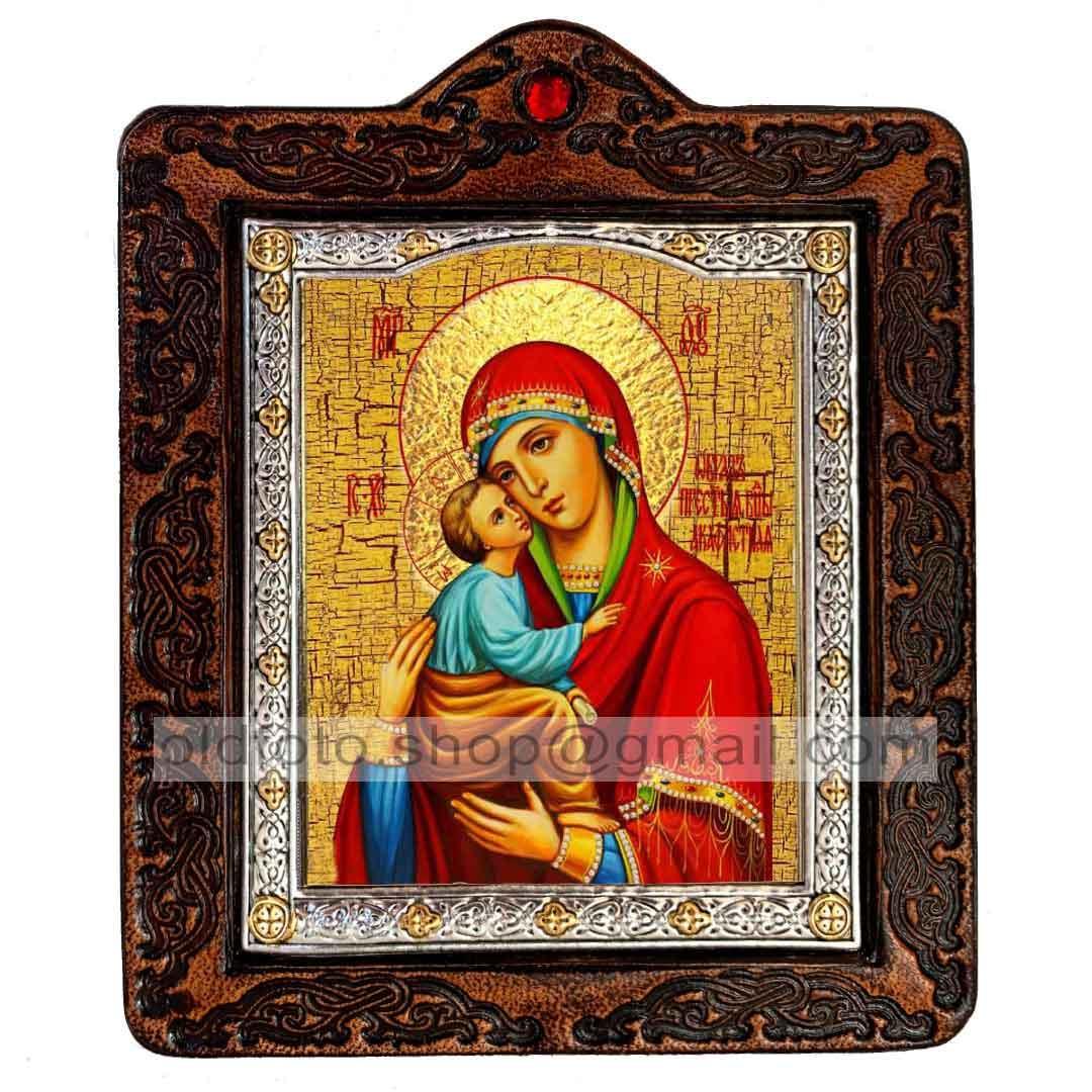 Акафистная икона Божией Матери (на коже 80х100мм)
