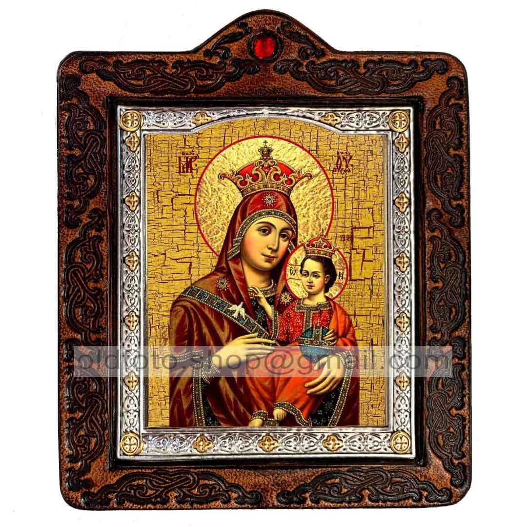 Икона Вифлеемская икона Пресвятой Богородицы (на коже 80х100мм)