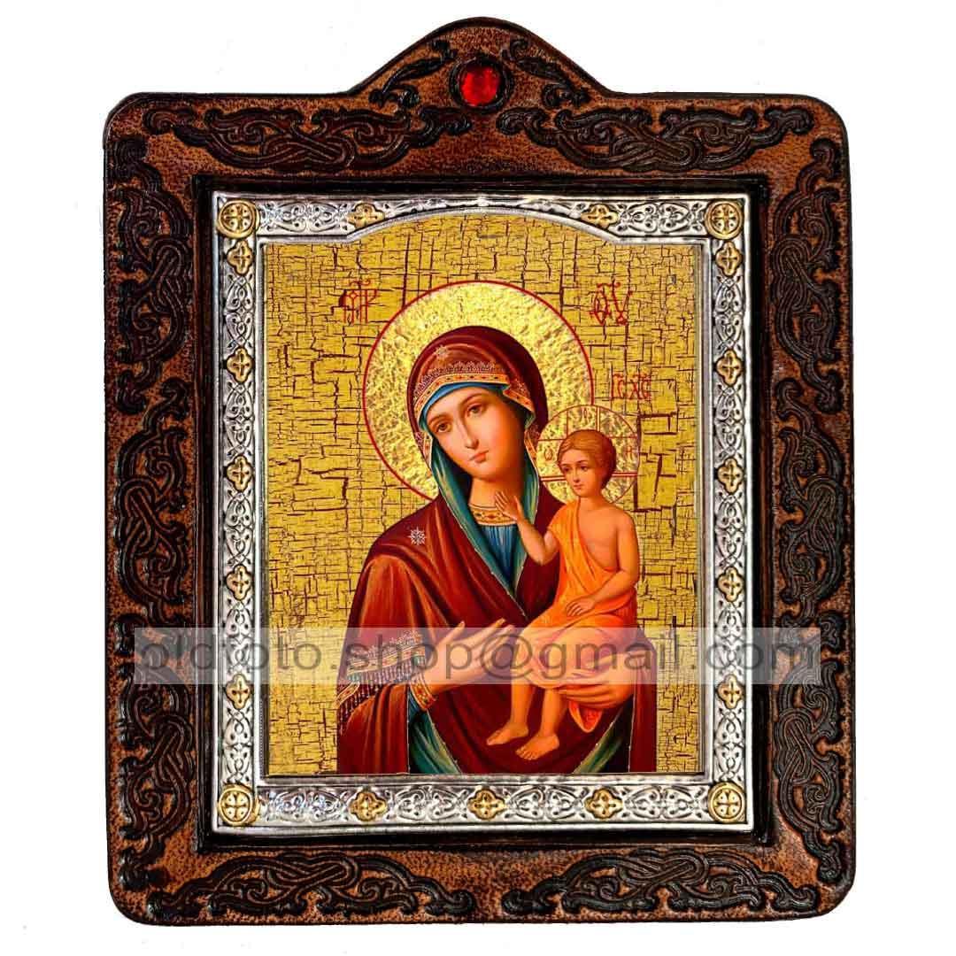 Виховання Ікона Пресвятої Богородиці (на шкірі 80х100мм)