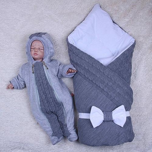 Демисезонный комплект на выписку для новорожденного вязаный набор Глория
