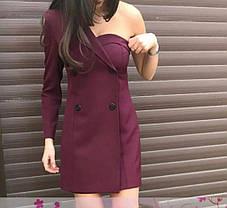 Платье мини с одним открытым плечом на пуговицах, фото 3