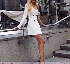 Платье мини с одним открытым плечом на пуговицах, фото 2