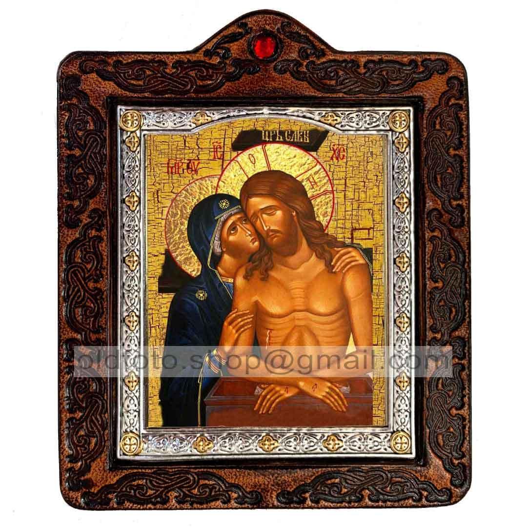 Не рыдай мене, Мати Икона Пресвятой Богородицы (на коже 80х100мм)