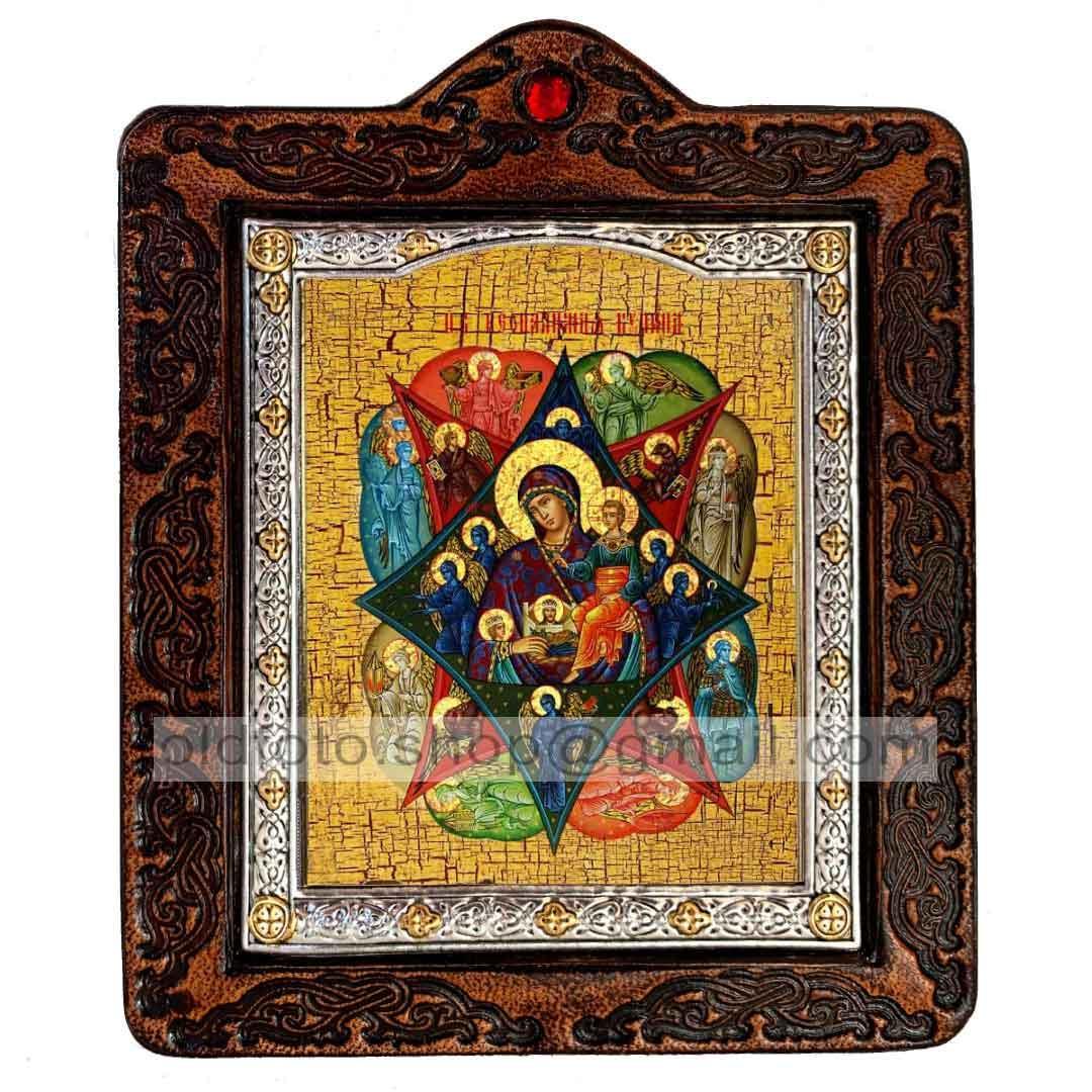Неопалимая Купина Икона Пресвятой Богородицы  ,икона на коже 80х100 мм