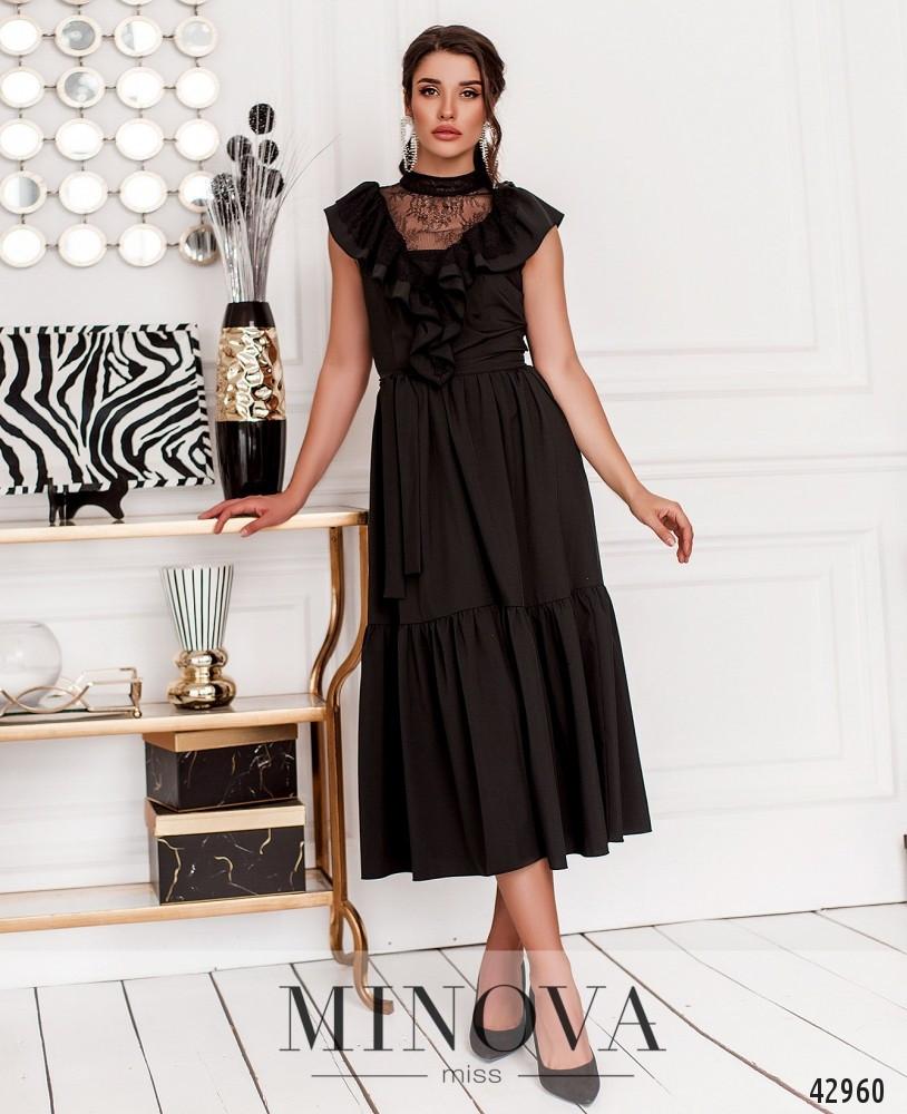 Длинное женское платье с воланами и кружевом, цвет чёрный,  размер от 42 до 46