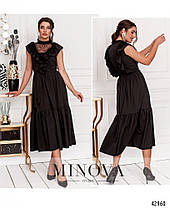 Длинное женское платье с воланами и кружевом, цвет чёрный,  размер от 42 до 46, фото 3
