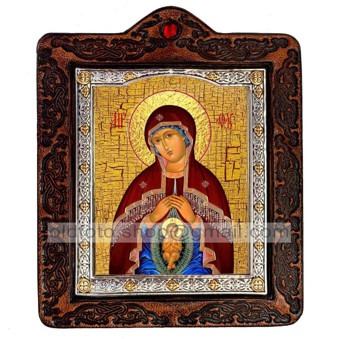 Помощница в родах Икона Пресвятой Богородицы  ,икона на коже 80х100 мм