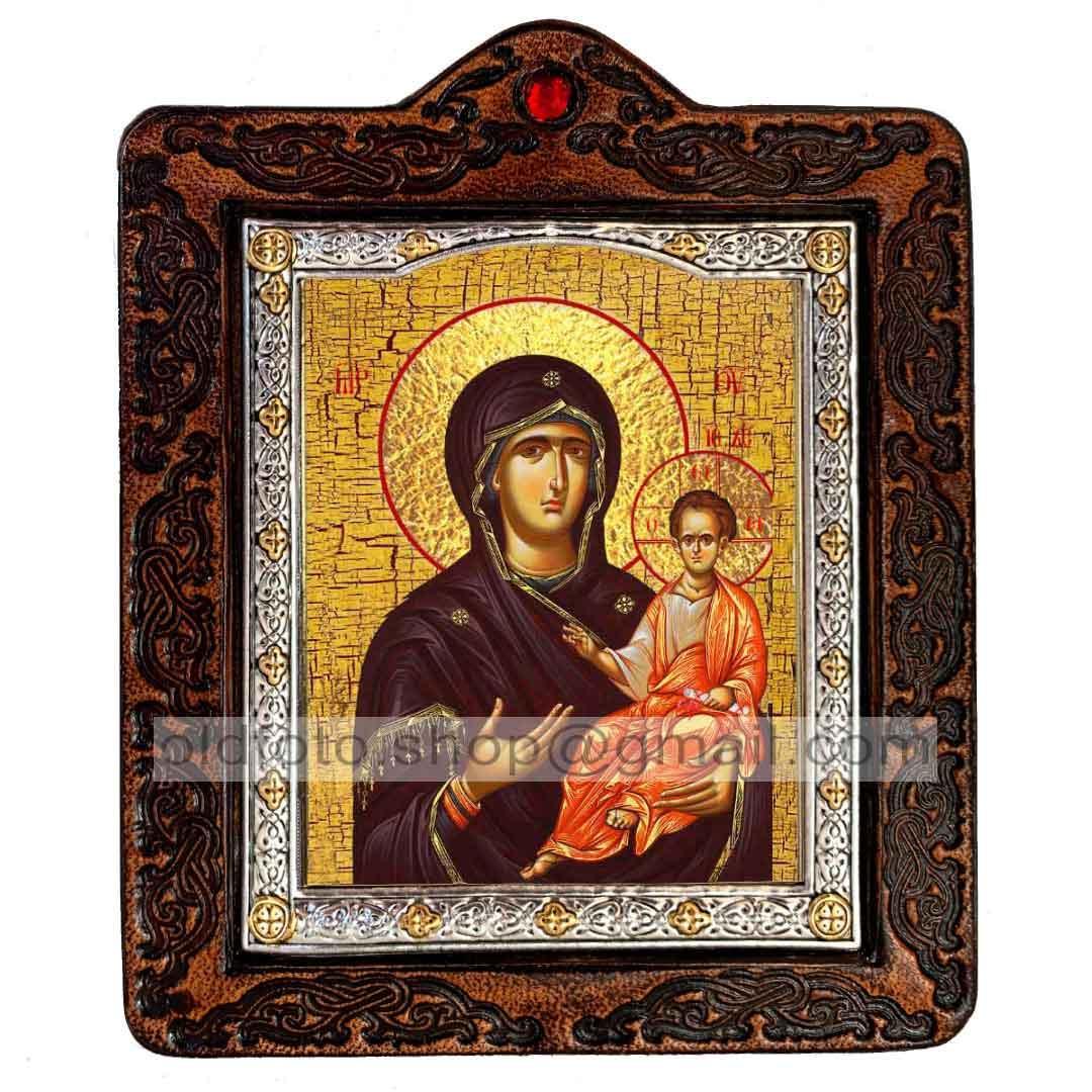 Одигитрия (Смоленская) Икона Пресвятой Богородицы (на коже 80х100мм)
