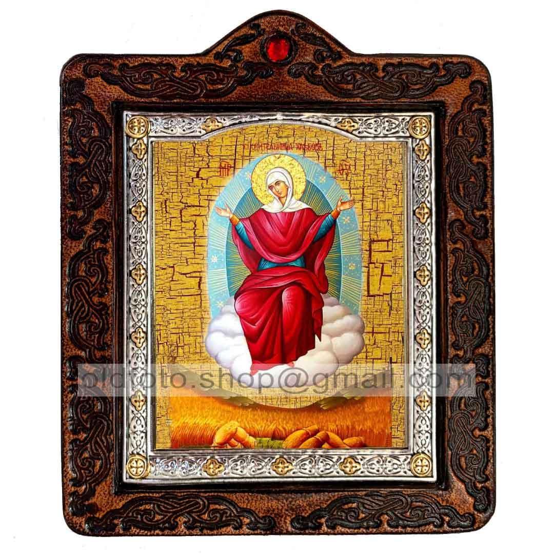Спорительница Хлебов Икона Пресвятой Богородицы (на коже 80х100мм)