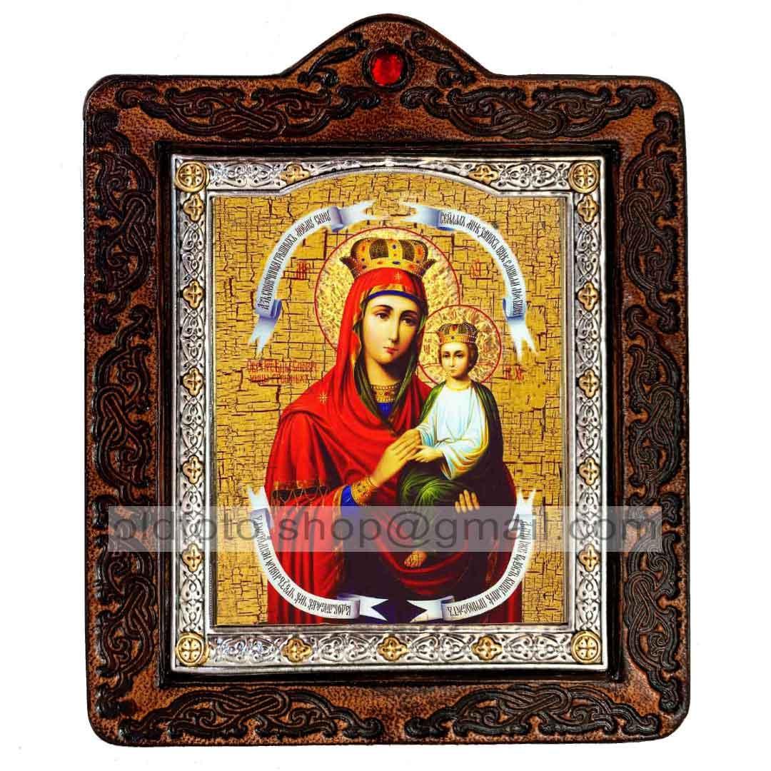 Споручница Грешных Икона Пресвятой Богородицы (на коже 80х100мм)