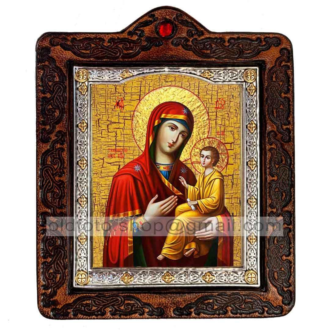 Тихвинская Икона Пресвятой Богородицы (на коже 80х100мм)