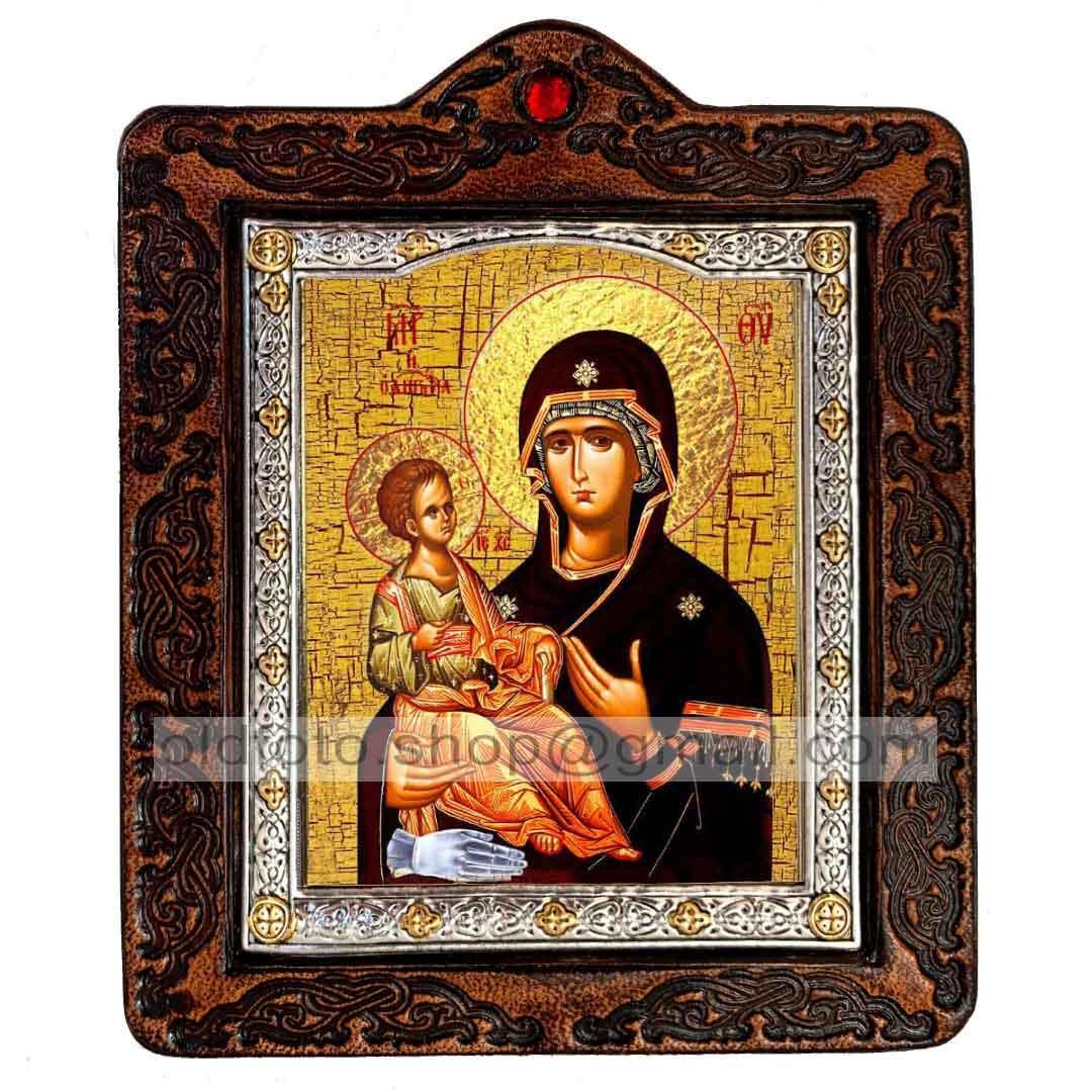 Троеручица Икона Пресвятой Богородицы (на коже 80х100мм)