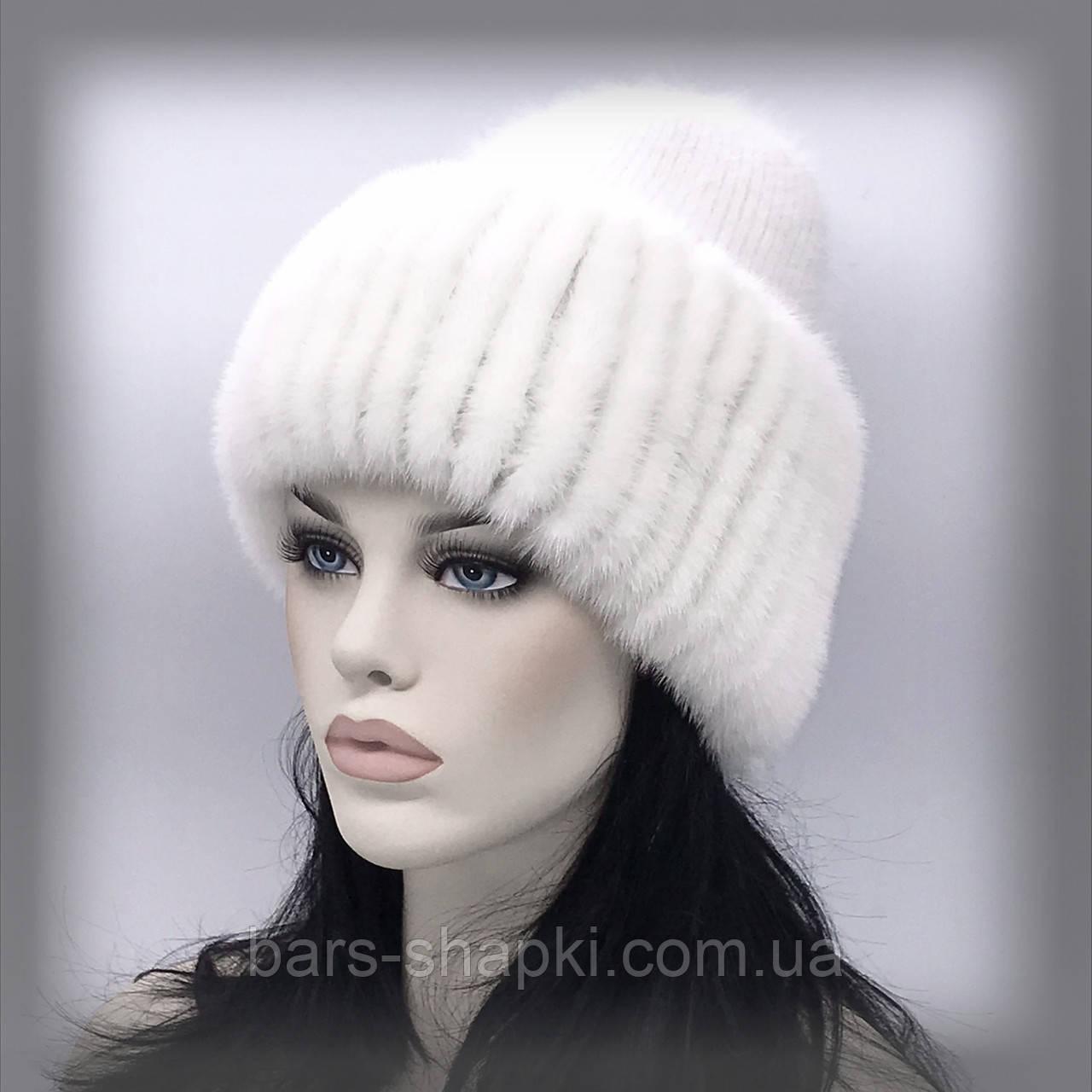 """Меховая шапка на трикотаже """"Сильвия"""" (белая)"""