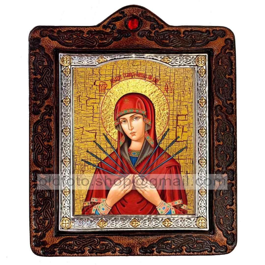 Семистрельная Ікона Пресвятої Богородиці (на шкірі 80х100мм)