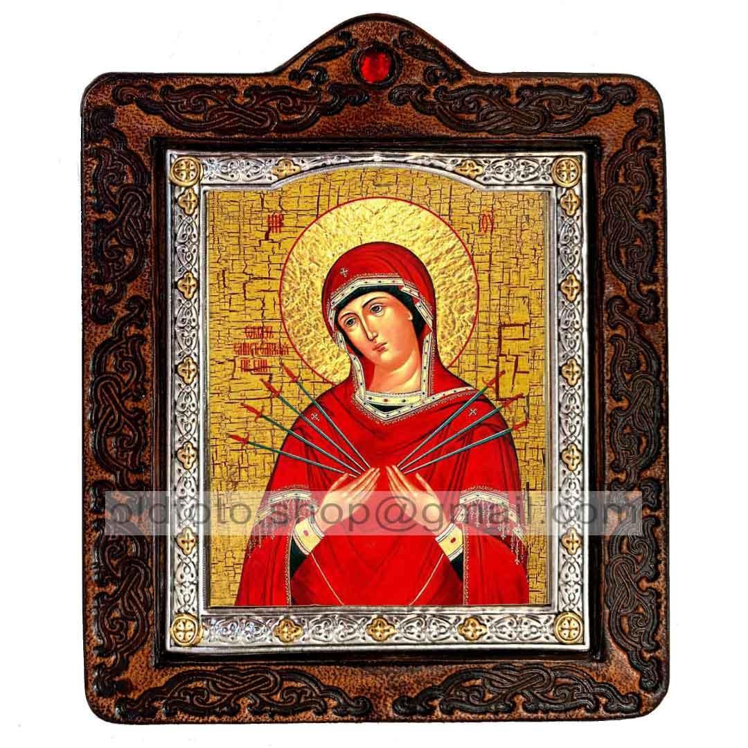 Семистрельная Икона Пресвятой Богородицы  (на коже 80х100мм)