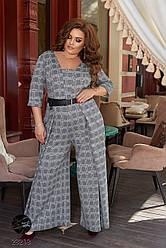 Женский серый комбинезон с широкими брюками батал