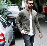 Стильная джинсовая мужская рубашка с длинным рукавом Турция, хаки, большой ассортимент